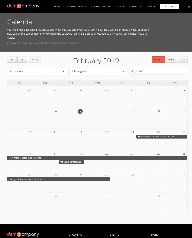 List - Calendar
